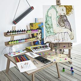 画具颜料画架组合模型