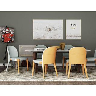 北欧餐桌椅装饰画3d模型
