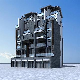 中式多层住宅楼3d模型