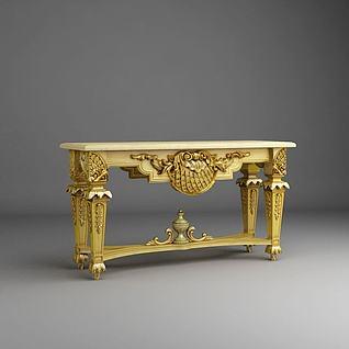 金色条案桌3d模型