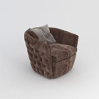 欧式简约单人沙发3d模型