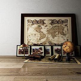 复古地图模型