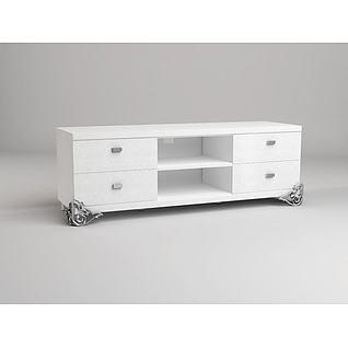 白色简约电视柜3d模型