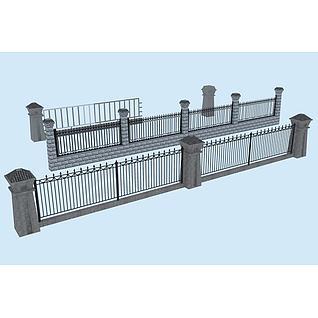 仿古铁艺栏杆3d模型