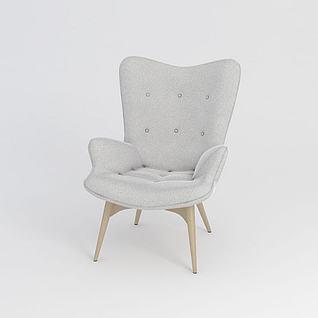 现代简约单人沙发3d模型