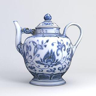 青花瓷水壶3d模型