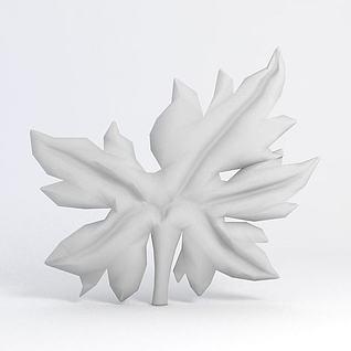 树叶雕花3d模型