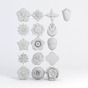 花卉形状雕花模型3d模型