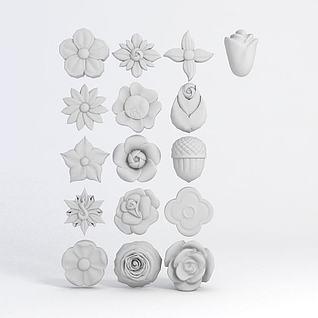 花卉形状雕花3d模型