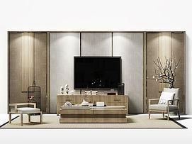 现代电视墙模型