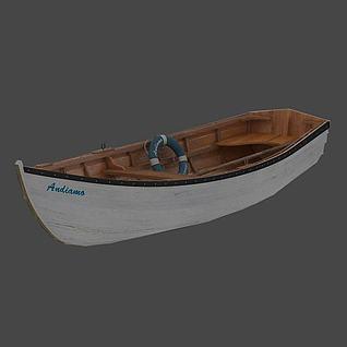 白色小木船模型3d模型