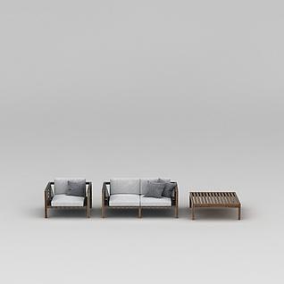 简约木质沙发茶几组合3d模型