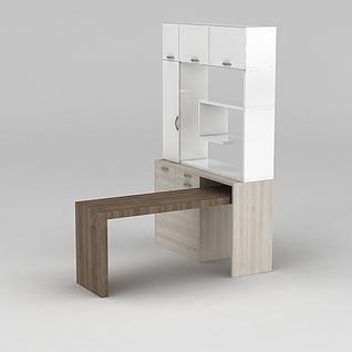 一体桌柜组合3d模型