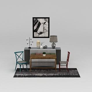 中式边柜桌椅组合3d模型