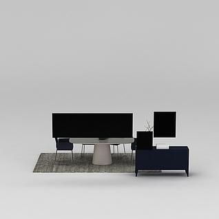 办公桌椅3d模型