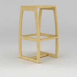 原木凳子模型