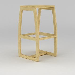 原木凳子3d模型