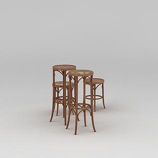 室内吧凳3d模型