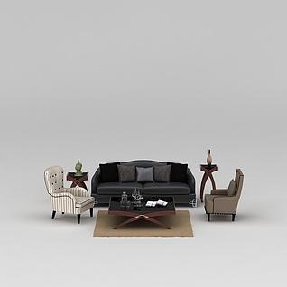 室内沙发茶几组合3d模型