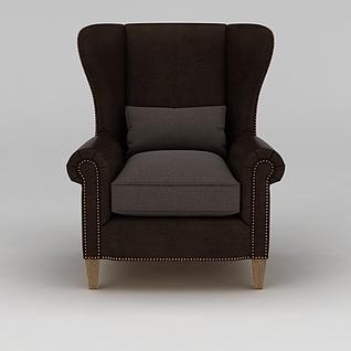 棕色单人沙发3d模型3d模型