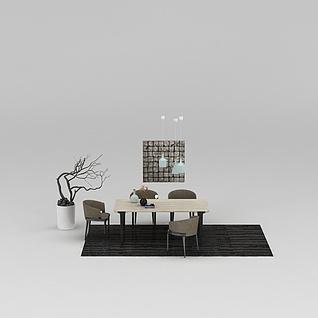 家庭餐桌椅组合3d模型