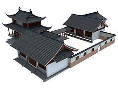仿古南方建筑模型3d模型