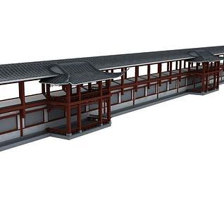 仿古长廊3d模型