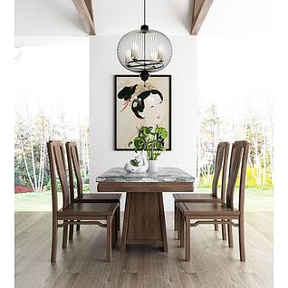 新中式餐桌椅3d模型