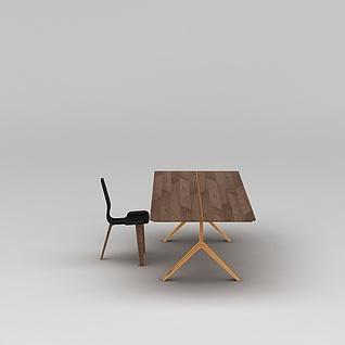 简约原木桌椅3d模型