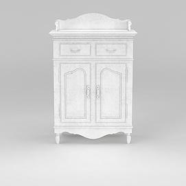 欧式白色备餐台模型