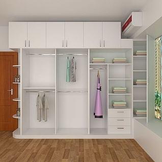 卧室无门衣柜3d模型
