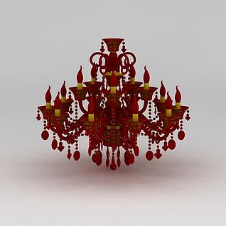 红色吊灯3d模型