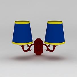 蓝色壁灯模型
