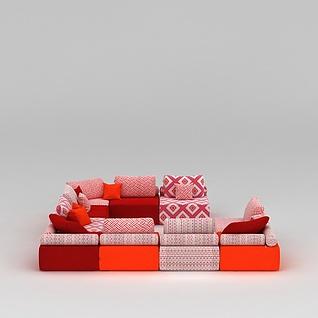 客厅组合沙发3d模型3d模型