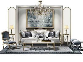 欧式沙发茶几组合模型