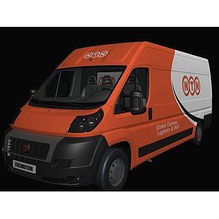 橙色快递车3d模型