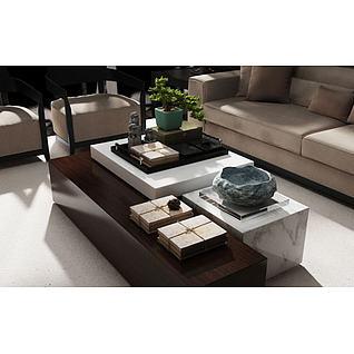 中式茶几3d模型
