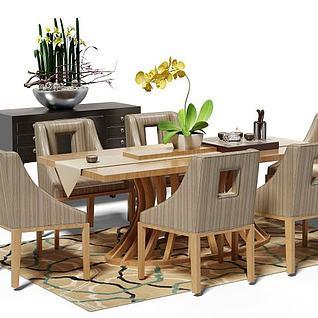 六人餐桌椅组合3d模型