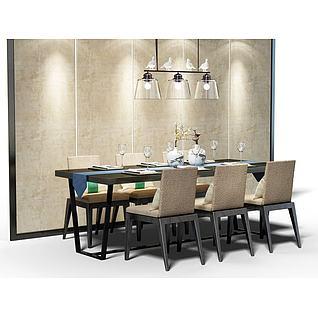 现代高档餐桌椅组合3d模型