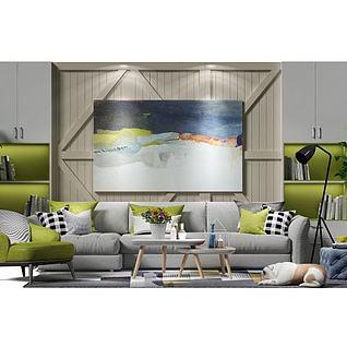 客厅沙发茶几组合3d模型