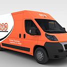 橙色快递车模型