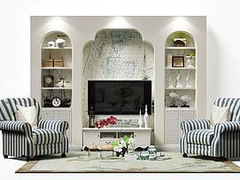 地中海风格电视墙模型