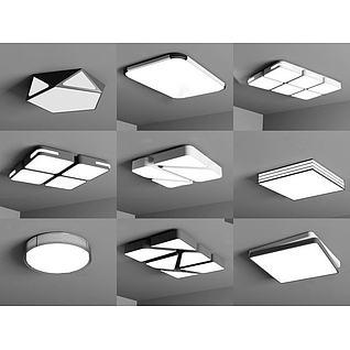 现代吸顶灯组合3d模型