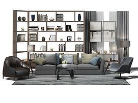 现代中式沙发茶几组合3d模型