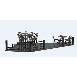 商场外工业风桌椅3d模型