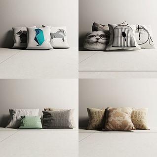 北欧抱枕3d模型