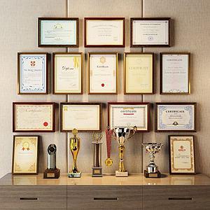 奖杯证书模型
