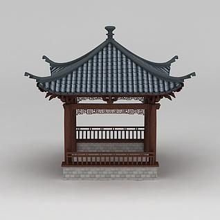 四角亭3d模型