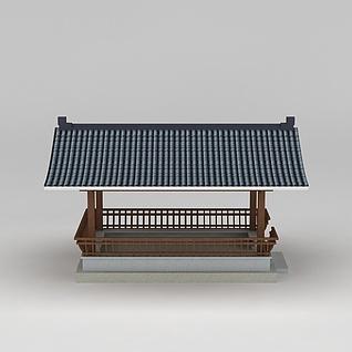 古代休息亭3d模型