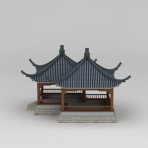 3d双联亭模型